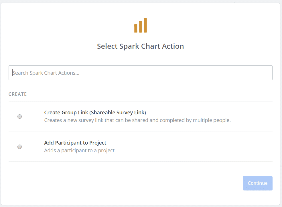 Zapier Survey Actions in Spark Chart