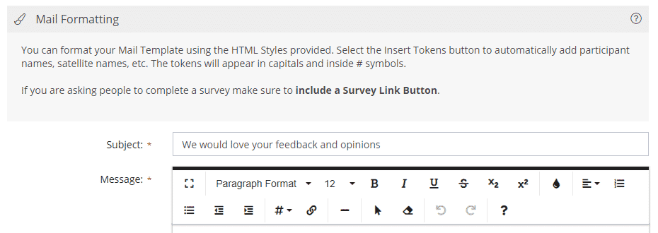 Survey Mail Template Rich Text