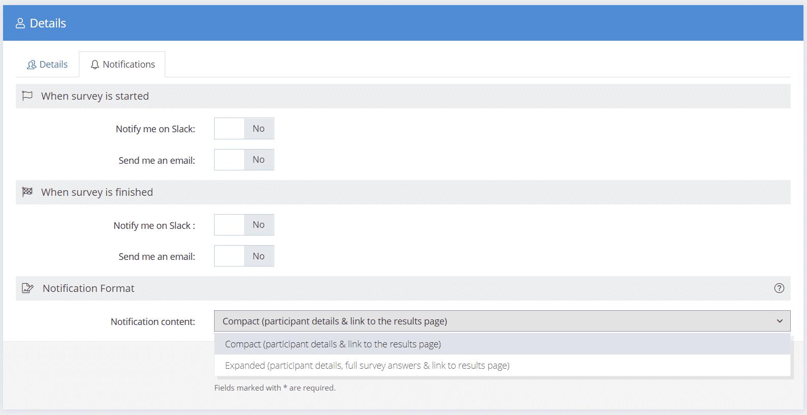 Survey Notifications
